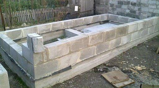 Кладка стен бани из пеноблоков